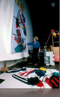 Studio setting for painting in Hong Kong.